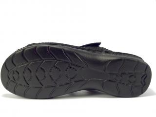 Pantofle kožené černé LR 62184