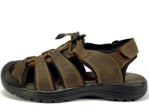 Selma sandál kožený hnědý plná špice MR61037