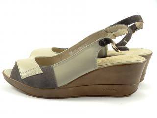 Karino 1262 letní obuv na klínu béž.šedá