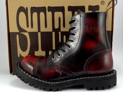 Steel boty 8 dírek 113/114/O/BLACK červená