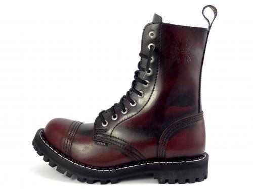 Steel boty 10 dírek 105/106/O/OC/zateplené black bordó