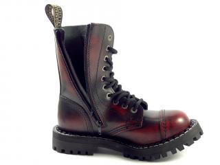 Steel boty 10 dírek 105/106/O/ZIP/black  červená