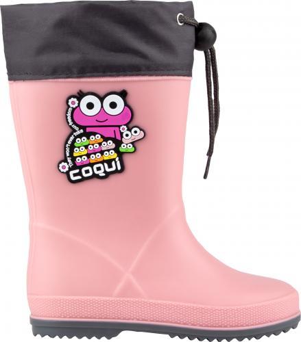 COQUI holínky Rainy collar 8508  powder pink/dk. grey