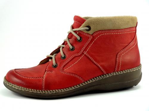 Kotníková šněrovací obuv červená