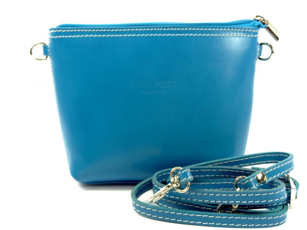 Vera Pelle modrá kožená kabelka 2fb15628af3