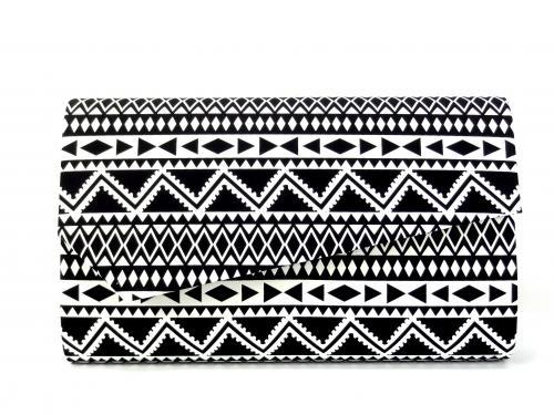 Psaníčko P0303 černé s bílým vzorem