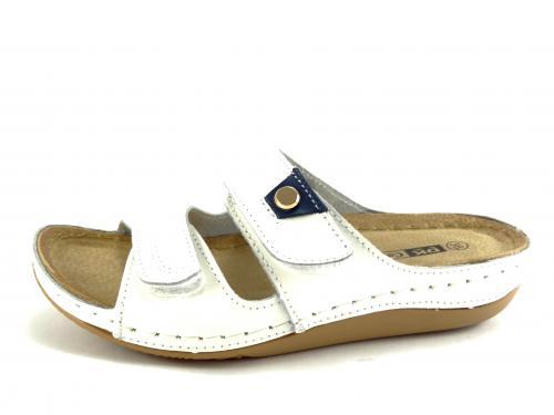 DK bílé kožené pantofle 160033