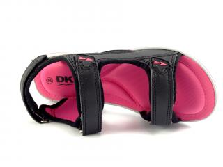 DK sandále černé s růžovou HF08